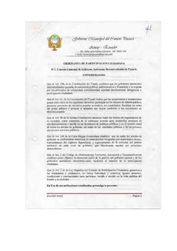 ORDENANZA PARTICIPACION CIUDADANA
