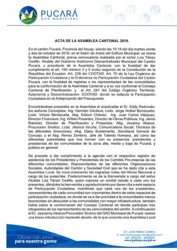 ACTA ASAMBLEA CANTONAL 2019 PRESUPUESTO PARTICIPATIVO