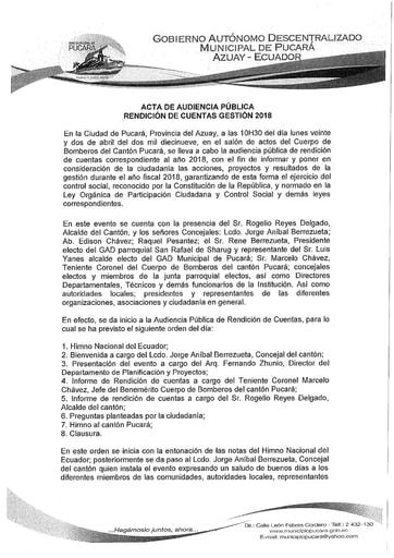 ACTA RENDICION 2018